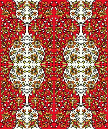 Woodblock printed seamless floral ethnic pattern. Traditional oriental ornament of India, flower garland motif, orange, red and green tones on ecru background. Textile design. 向量圖像