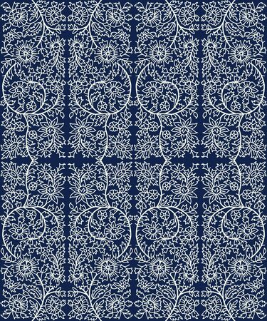 Woodblock printed indigo dye seamless floral ethnic pattern. Traditional oriental ornament of India, flower garland motif, ecru on navy blue background. Textile design.