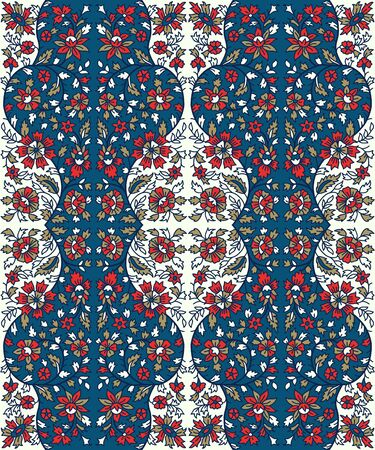 Woodblock printed indigo dye seamless floral ethnic pattern. Traditional oriental ornament of India, flower garland motif, blue, red and gold tones on ecru background. Textile design.
