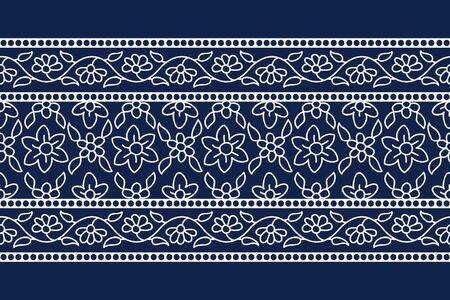 Woodblock printed indigo dye seamless ethnic floral border. Traditional oriental ornament of India, garland motif with primitive flowers, ecru on navy blue background. Textile design.