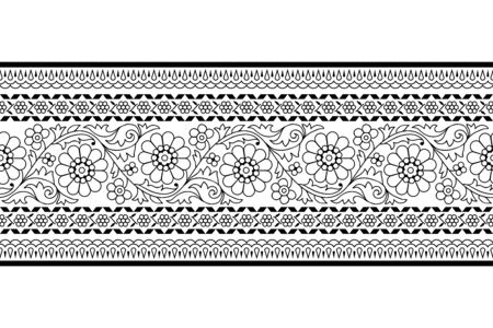 Woodblock printed monochrome seamless ethnic floral border. Traditional oriental ornament of India, garland motif, black on white background. Textile design.