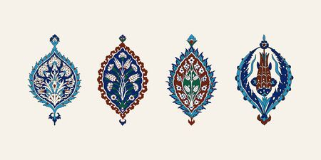 Set of 4 iznik elements. Vector traditional Turkish floral cobalt blue motifs. Elements for your design.
