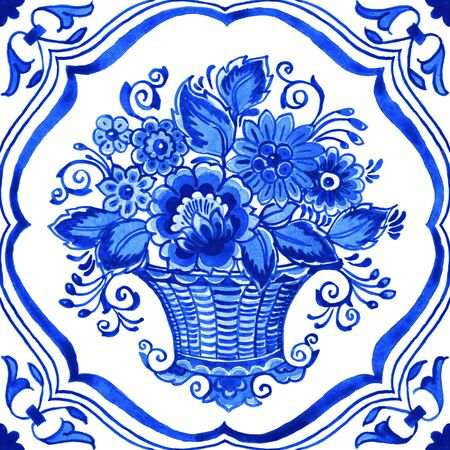 Delft blue style watercolor illustration. Traditional Dutch tile, floral bouquet in basket with elegant frame, cobalt on white background. Element for your design.