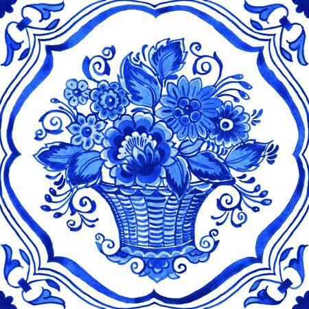 Delft blue style watercolor illustration. Traditional Dutch tile, floral bouquet in basket with elegant frame, cobalt on white background. Element for your design.