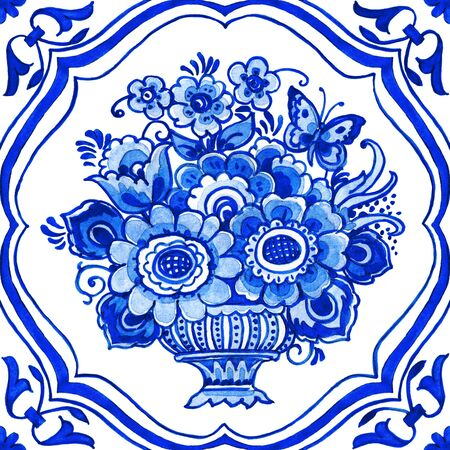 Delft blue style watercolor illustration. Traditional Dutch tile, floral bouquet in classic vase with elegant frame, cobalt on white background. Element for your design.