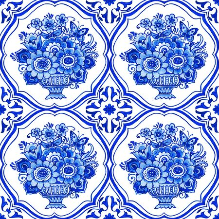 Delft blue style watercolor seamless pattern. Traditional Dutch tiles, bouquets of flowers in classic vase in elegant frame, cobalt on white background. Wallpaper, textile design. Stock fotó