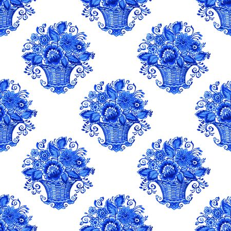Delft blue style watercolor seamless pattern. Traditional Dutch tiles, bouquets of sunflowers in basket, cobalt on white background. Wallpaper, textile design.