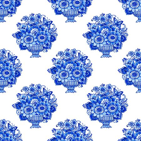Delft blue style watercolor seamless pattern. Traditional Dutch tiles, bouquets of flowers and butterflies in classic vase, cobalt on white background. Wallpaper, textile design. Stock fotó