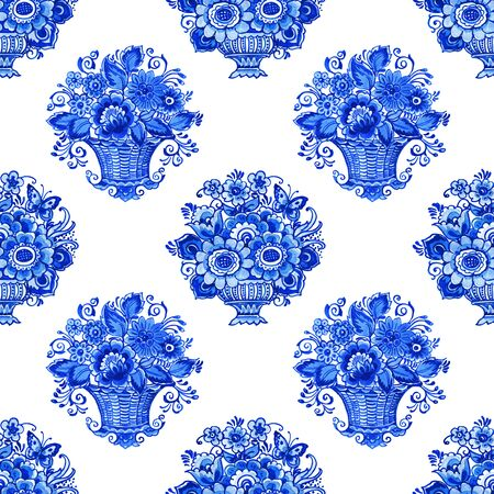 Delft blue style watercolor seamless pattern. Traditional Dutch bouquets of flowers in classic vases and baskets, cobalt on white background. Wallpaper, textile design.