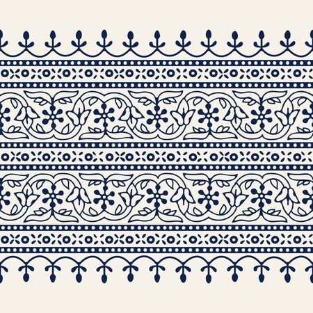 Woodblock printed indigo dye seamless ethnic floral wide geometric border. Traditional oriental ornament of India Kashmir, flowers wave and arcade motif, navy blue on ecru background. Textile design. 向量圖像