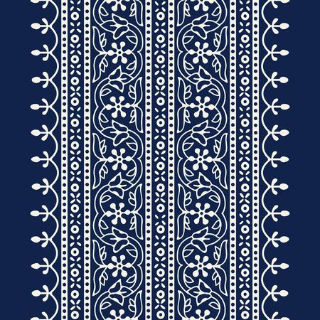 Woodblock printed indigo dye seamless ethnic floral wide geometric border. Traditional oriental ornament of India Kashmir, flowers wave and arcade motif, ecru on navy blue background. Textile design.