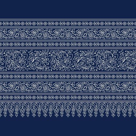 Luxury woodblock printed indigo dye seamless ethnic floral geometric border. Traditional oriental ornament of India, flower garlands and arcades motif, ecru on navy blue background. Textile print.
