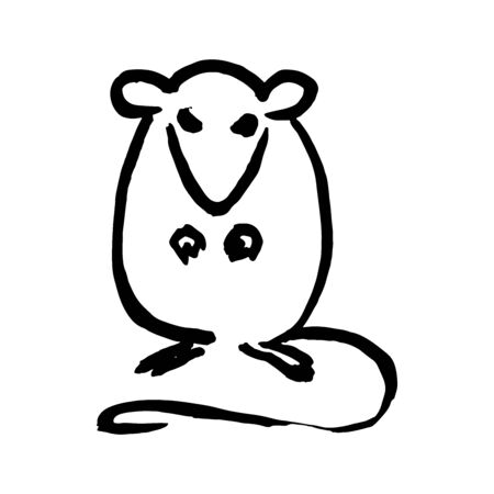 Rat sitting up, vector handmade ink drawing, sumi-e style. Original art. Symbol of the Oriental new year of the rat. Chinese zodiac sign. Element for your design.