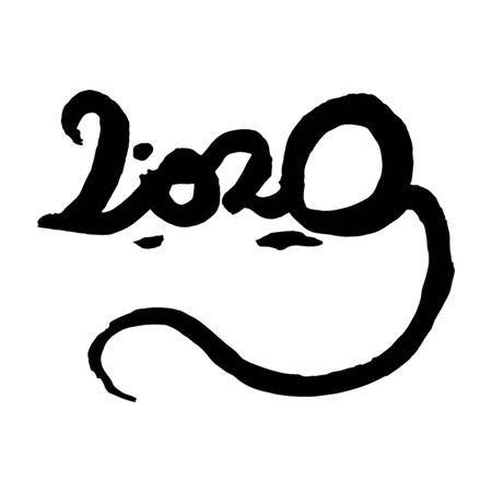 Vector handmade lettering 2020 in shape of a rat.  Ink drawing, sumi-e style. Original calligraphy. Symbol of the Oriental new year of the rat. Chinese zodiac sign. Element for your design.