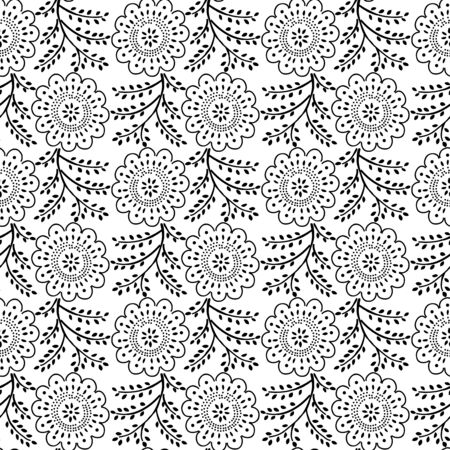 Seamless woodblock printed monochrome floral pattern. Traditional ethnic dotted ornament of Russia, black on white background. Textile design.