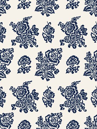 Seamless woodblock printed indigo dye floral pattern. Vector ethnic ornament, traditional Russian motif with tulips and carnations, navy blue on ecru background. Textile print.