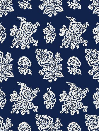 Seamless woodblock printed indigo dye floral pattern. Vector ethnic ornament, traditional Russian motif with tulips and carnations, ecru on navy blue background. Textile print.