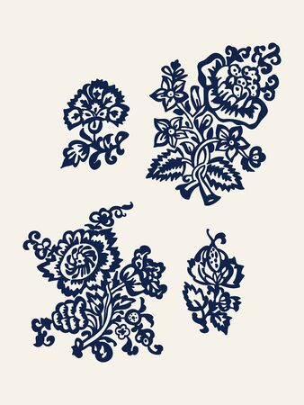 Set of 4 wood block printed floral elements. Traditional ethnic motifs of Russia, tulips and carnations, indigo blue on ecru background. For your design of ornamental patterns or borders.