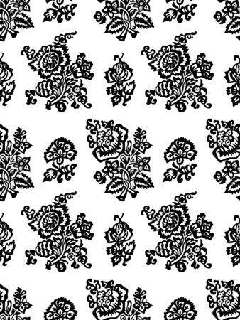 Seamless woodblock printed monochrome floral pattern. Vector ethnic ornament, traditional Russian motif with tulips and carnations, black on white background. Textile print. 向量圖像