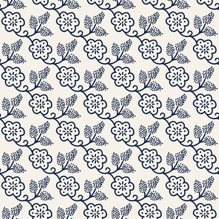 Seamless woodblock printed indigo dye floral pattern. Traditional ethnic dotted ornament of Russia with blossoms and grapes, navy blue on ecru background. Textile design.