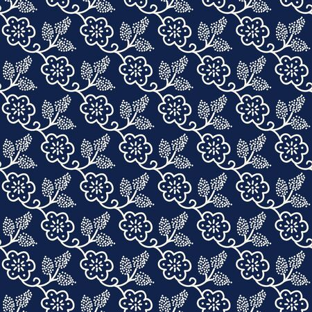 Seamless woodblock printed indigo dye floral pattern. Traditional ethnic dotted ornament of Russia with blossoms and grapes, ecru on navy blue background. Textile design.