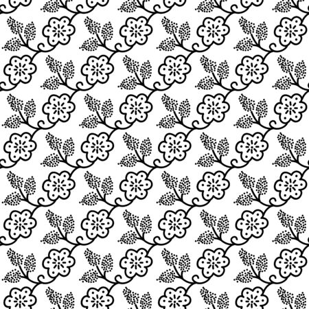Seamless woodblock printed monochrome floral pattern. Traditional ethnic dotted ornament of Russia with blossoms and grapes, black on white background. Textile design. 向量圖像