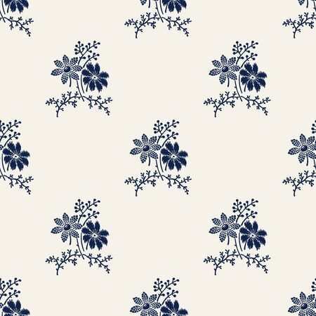 Woodblock printed indigo dye seamless floral pattern. Vector ethnic ornament, traditional Russian motif with meadow flowers, navy blue on ecru background. Textile print.