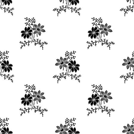 Woodblock printed monochrome seamless floral pattern. Vector ethnic ornament, traditional Russian motif with meadow flowers, black on white background. Textile print.