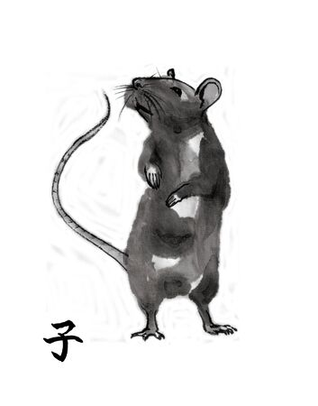 Rat standing on rear paws, sumi-e illustration. Oriental ink wash painting with Chinese hieroglyph