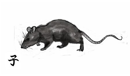 Rat walking and sniffing ground, sumi-e illustration. Oriental ink wash painting with Chinese hieroglyph