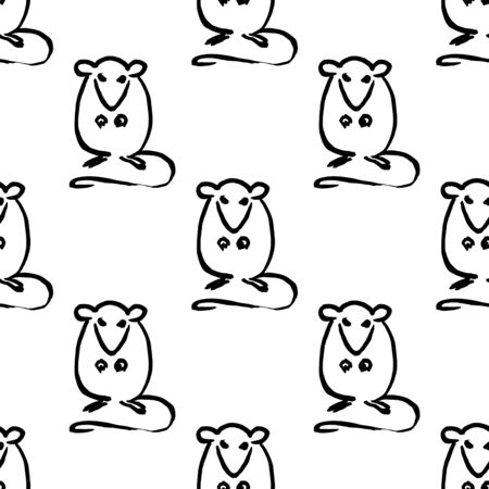 Seamless pattern with  cute seated rats.  Handmade vector ink painting. Symbol of the Oriental new year of the rat. Chinese zodiac sign.