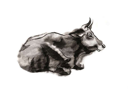 Resting cow, sumi-e illustration. Oriental ink wash painting. Symbol of the eastern new year of the Ox. 免版税图像