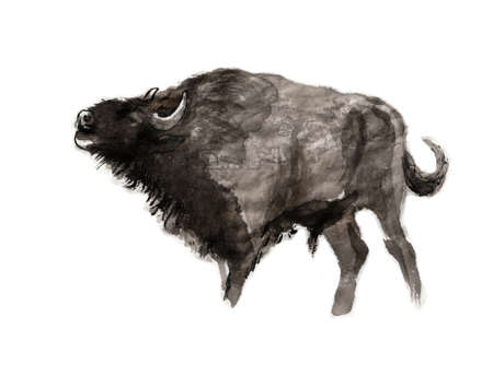 Roaring European bison, sumi-e illustration. Oriental ink wash painting. Symbol of the eastern new year of the Ox. 免版税图像