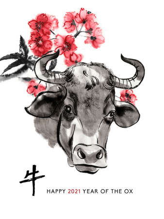 Ox sumi-e greeting card oriental new year. A cow head and a branch of cherry blossom, Eastern ink wash painting. With Chinese hieroglyph `Ox` and text.