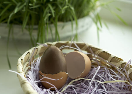 Small Chocolate eggs in the basket photo
