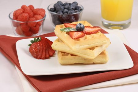 great looking organic waffles,with fresh fruits natural food for natural people photo