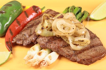 mexican style grilled beef and veggies
