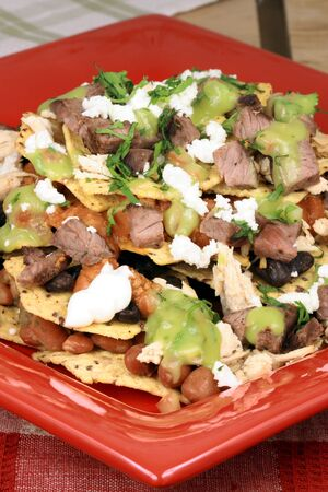 An exquisite organic mexican nachos with wheat corn tortilla and hormone free beef  photo