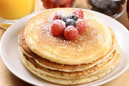Perfect pancakes  made with organic fresh ingredients Stock Photo