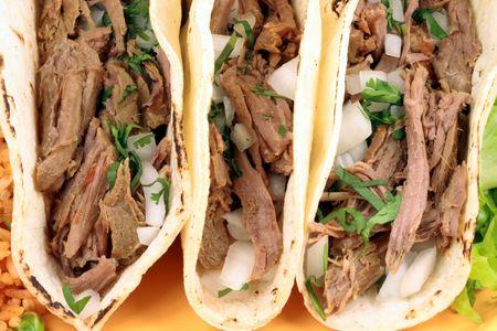 Mexikanischen Tacos perfekte Mahlzeit oder köstliche Vorspeise Snack Standard-Bild