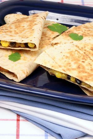 perfectly: Fresh hot perfectly made mexican quesadilla delicious international food