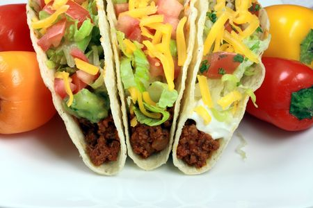 Delicious mexican tacos perfect appetizer meal or delicious snack     Stock Photo