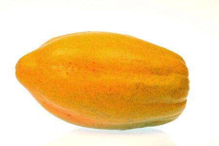 delicious organic papaya on white background, sweet tropical fruit