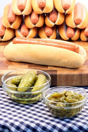 hot dog ingredients on a nice table setting rich in colors and flavors perfect for picknicks  Stock Photo - 6972964