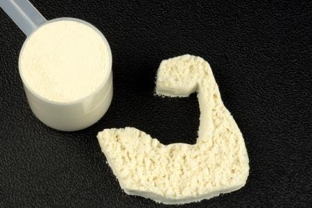 Protein Pulver perfekte Ergänzung für Bodybuilder, Fitness-Enthusiasten, Diät und Übung-Liebhaber  Standard-Bild