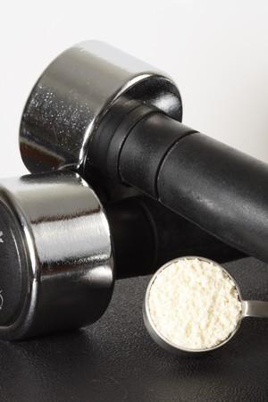 ボディービルのサプリメントと栄養のキーのプロテイン パウダー 写真素材