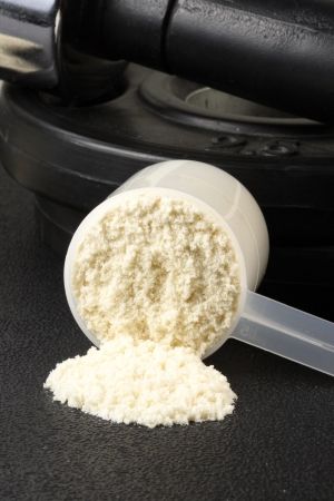 粉末状のタンパク質ボディービル補充と栄養のキー 写真素材