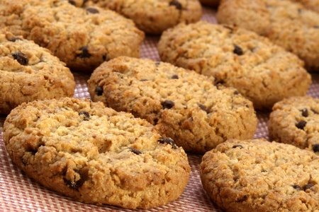 Fresh baked Stack of warm chocolate  chips cookies on baking silicone sheet  shallow DOF Stock Photo