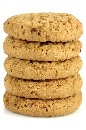 Fresh baked Stack of warm oatmeal cranberry cookies isolated against white background, shallow DOF Stock fotó