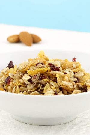 delicious and healthy wholegrain muesli breakfast, with lots of dry fruits, nuts and grains Stock Photo - 9589931
